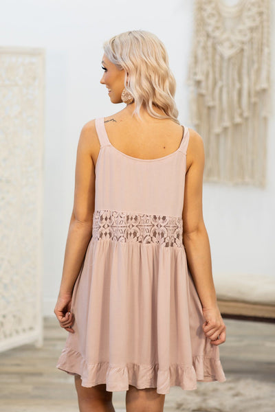 Somewhere With You Lace Detail Sleeveless Dress in Dusty Pink - Filly Flair