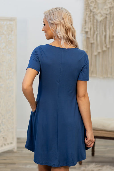 Looking For Dry Land Short Sleeve Pocket Dress in Blue - Filly Flair