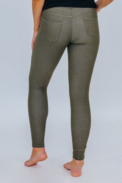 Be My Plus One Classic Skinny Jeggings in Army Green - Filly Flair