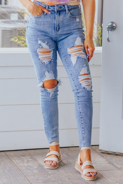 Jack Judy Blue High Rise Distressed Skinny Medium Wash Jeans - Filly Flair