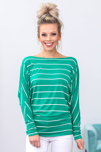 Right On My Side Long Sleeve White Striped Dolman Top in Kelly Green - Filly Flair