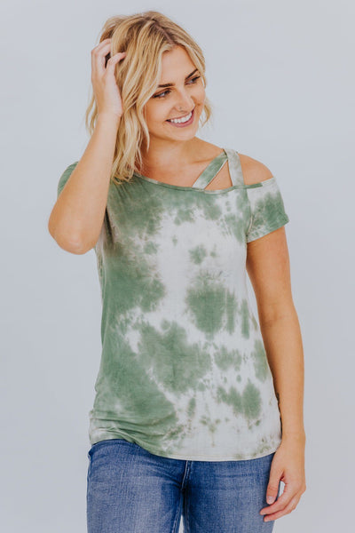 Bold and Brave Tie Dye Top in Sage - Filly Flair