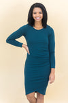Plans To Go Out Side Rouching Long Sleeve Dress in Hunter Green - Filly Flair