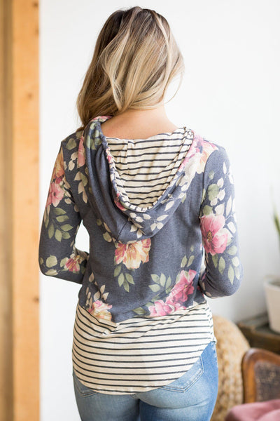 Let Me Take You Dancing Floral Print Long Sleeve Top in Navy - Filly Flair