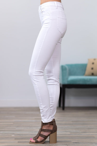 Brielle Blue Age Mid Rise Skinny Jeans in White - Filly Flair