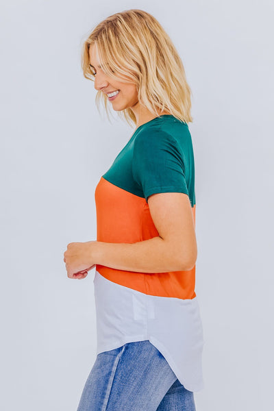 Vivid Dreams Color Block V Neck Tee In Orange - Filly Flair