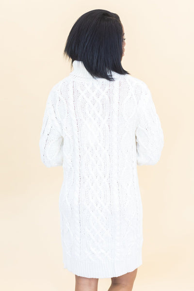 I Belong, You Be Long, We Belong Cable Knit Sweater Dress In Ivory - Filly Flair
