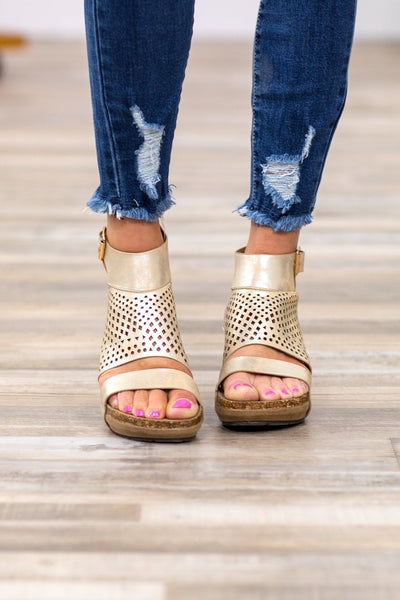 Every Wedge Dream Laser Cut Wedges in Gold - Filly Flair