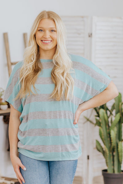 Fast Movin' Train Twisted Back Top In Sky Blue - Filly Flair