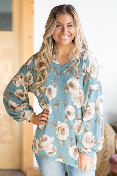 Every Chance I Get Floral Long Sleeve Top in Teal - Filly Flair