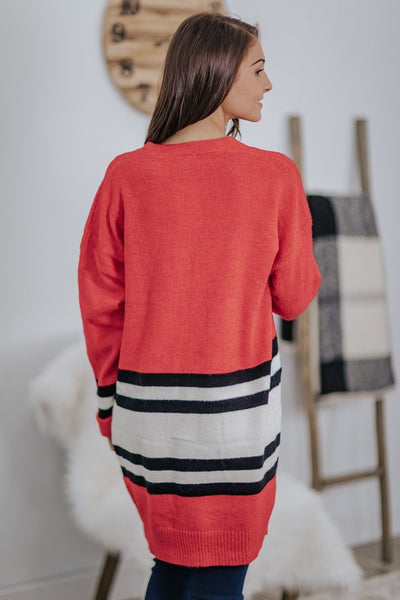 *121019 Always Finding The Good Color Block Long Sleeve Cardigan In Coral - Filly Flair
