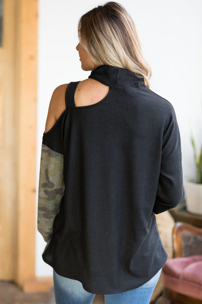 Come On Girls Camouflage Cold Shoulder Top In Black - Filly Flair