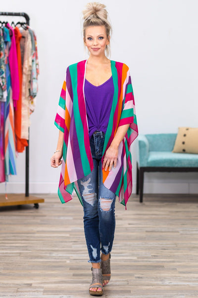 On A Sunny Day Striped Kimono in Fuchsia Green - Filly Flair