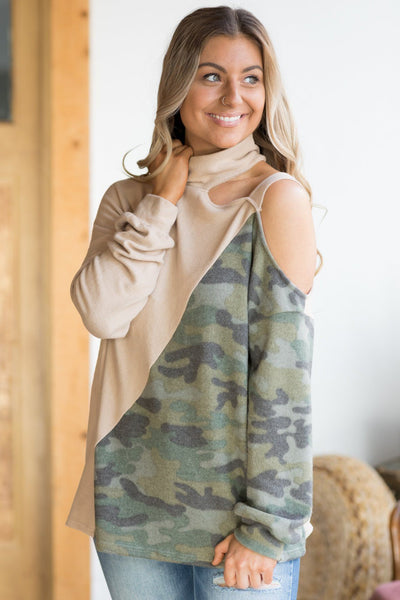 Come On Girls Camouflage Cold Shoulder Top In Camel - Filly Flair