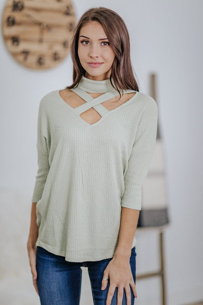 *DEAL*: Love Endures Delay Waffle V Criss Cross Neck 3/4 Sleeve Top in Sage - Filly Flair
