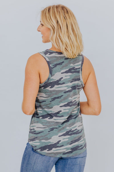 Are You Ready For This Camo Print Tank Top in Green - Filly Flair