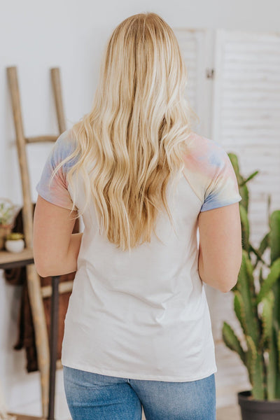 I Saw The Light Tie Dye Short Sleeve Top in White - Filly Flair