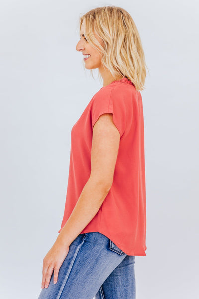 Fortunate One Lace V Neck Tank In Orange - Filly Flair