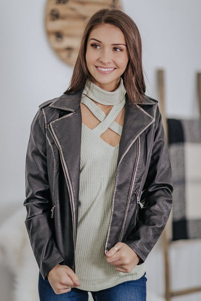 Having Some Fun Faux Leather Contrast Silver Lining Long Sleeve Jacket in Black - Filly Flair
