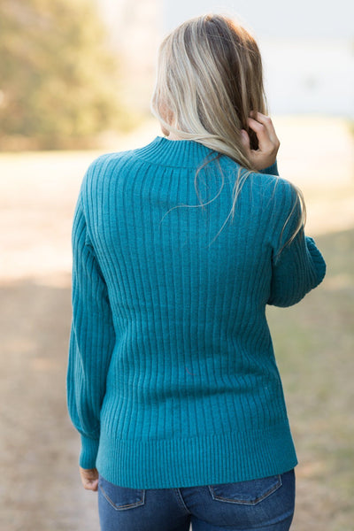 For The Taking Mock Neck Top in Teal - Filly Flair