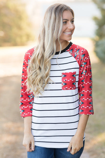 We Will Go Far Aztec Print 3/4 Sleeve Top in White - Filly Flair