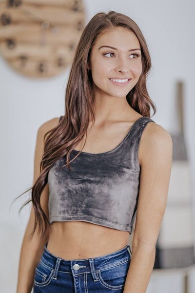 *DEAL* Comfy Alert Velvet Bralette or Crop Top in Charcoal - Filly Flair