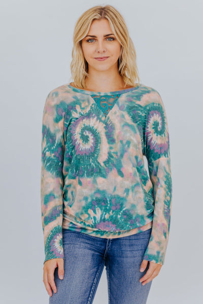 Head Over Heels Tie Dye Top in Green - Filly Flair