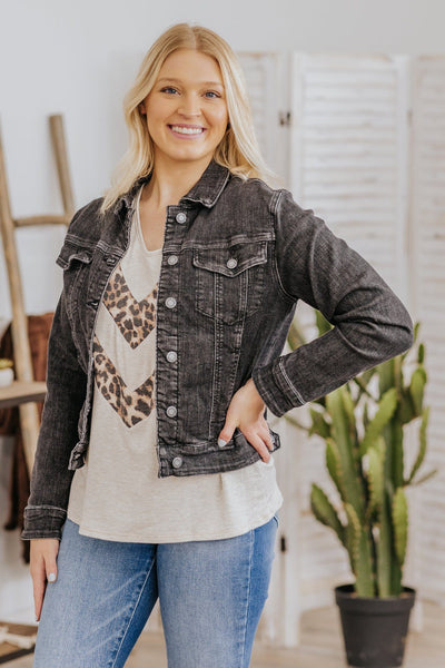 Jerry Judy Blue Long Sleeve Button Down Denim Jacket in Black - Filly Flair