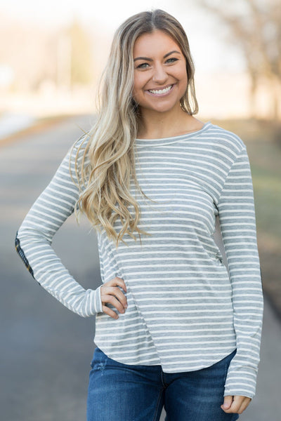 All I Have Striped Long Sleeve Top in Heather Grey - Filly Flair