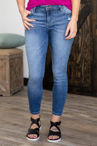 Connie Cello Mid Rise Crop Skinny Jeans - Filly Flair
