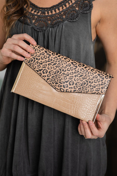 Find Your Inspiration Animal Print Clutch in Black Taupe - Filly Flair