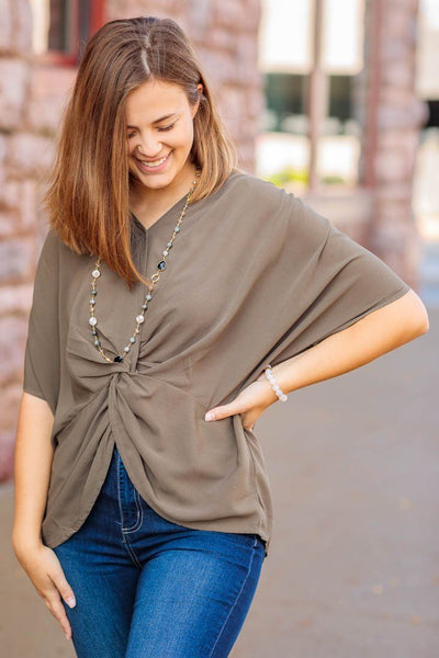 The Remix Front Twist Knot V Neck Short Sleeve Dolman Style in Olive - Filly Flair