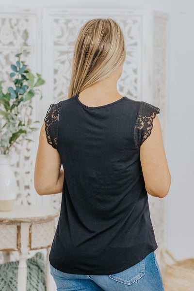 Choose Joy Lace Detail Sleeveless Tank Top in Black - Filly Flair