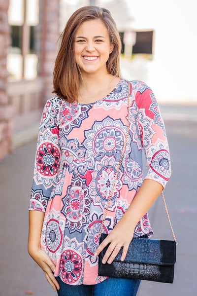 Find Your Peace Printed Flowy 3/4 Sleeve Tunic in Peach Grey - Filly Flair