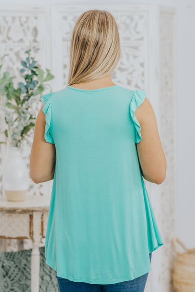Must Have Basics Ruffle Detail on Sleeve Tank Top in Mint - Filly Flair