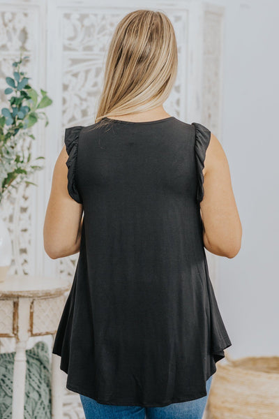 Must Have Basics Ruffle Detail on Sleeve Tank Top in Black - Filly Flair