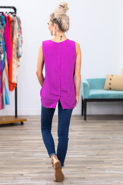 When I Think About It Sleeveless Rolled Hem Hi Low Top in Fuchsia - Filly Flair