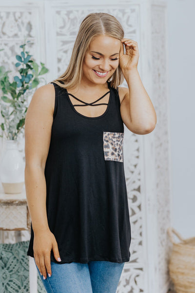 Big Dreams Cheetah Print Detail Criss Cross Neckline Tank Top in Black - Filly Flair