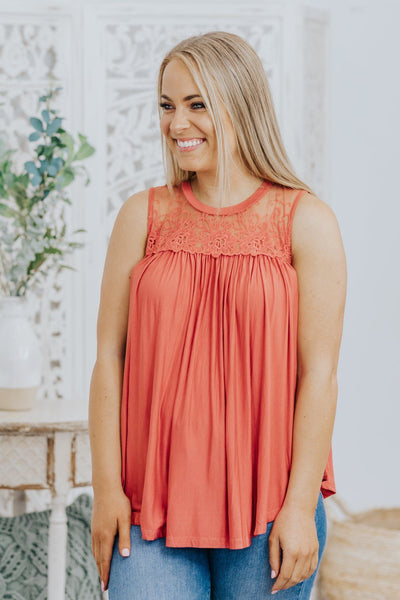 Can I Be Honest Button and Lace Flowy Tank in Brick - Filly Flair