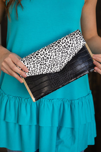 Find Your Inspiration Animal Print Clutch in Black White - Filly Flair