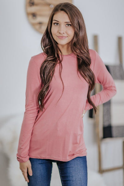 Plain As Day Long Sleeve Basic in Dusty Rose - Filly Flair