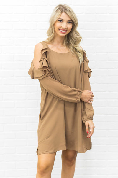 Moving Forward Cold Shoulder Long Sleeve Dress in Mocha - Filly Flair