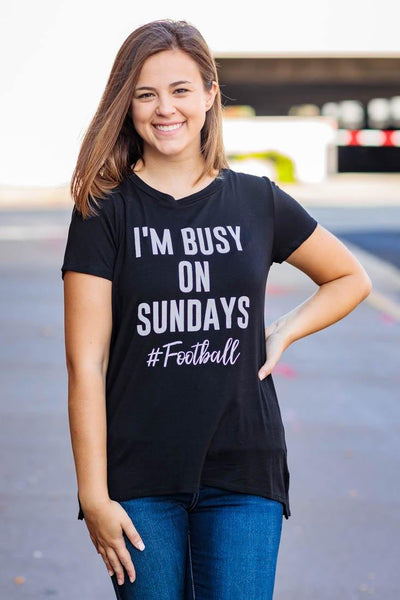 """I'm Busy On Sundays #Football"" Short Sleeve High Low Tee Shirt in Black - Filly Flair"