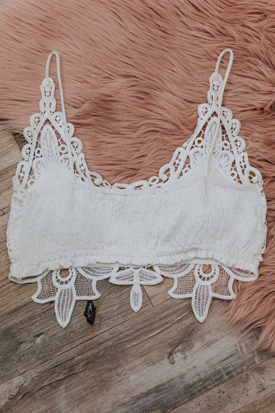 Love At First Sight Crochet Lace Bralette in White - Filly Flair