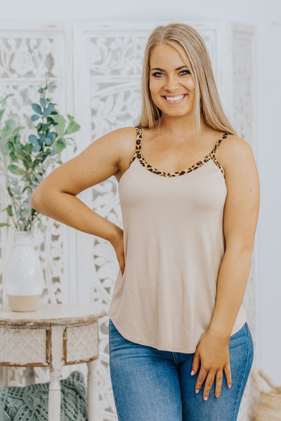 Livin' On A Prayer Animal Print Spaghetti Strap Tank Top in Taupe - Filly Flair