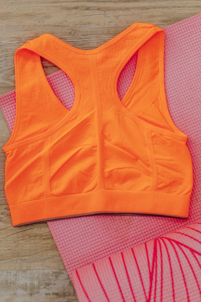 Good In a Pinch Racerback Sports Bra in Neon Orange - Filly Flair