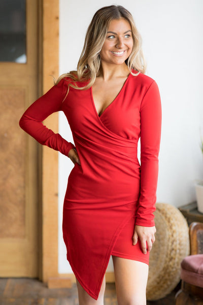 Ready For A Night Out V-Neck Long Sleeve Dress in Red - Filly Flair