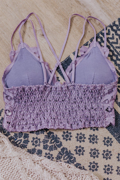 Reminisce Criss Cross Lace Bralette in Purple Ash - Filly Flair