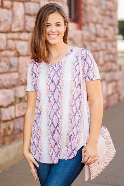 Attention On Me Snakeskin Short Sleeve V Neck Tee Shirt in Pink - Filly Flair