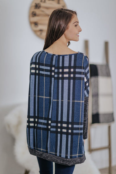Late Night Comfort Plaid Side Slit Long Sleeve Dolman Top in Navy - Filly Flair